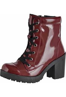 Bota Cano Curto Verniz Dr Shoes Bordo
