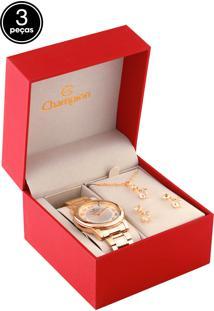Kit 3 Pçs Relógio Champion Cn26805B Dourado