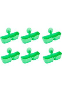 Kit 6 Sapateiras Organizadoras De Plástico Parede Com Ventosa Verde