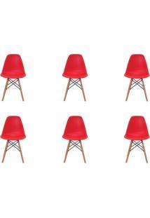 Kit 6 Peças Cadeira Eames Eiffel Rivatti Sem Braço Pp Base Madeira Vermelha