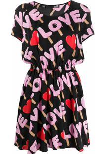 Love Moschino Vestido Reto Love - Preto