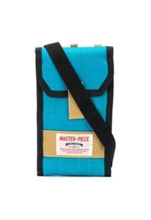 Master-Piece Bolsa Tiracolo Com Logo - Azul