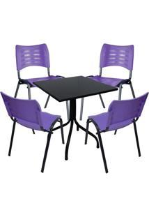 Conjunto De Mesa Fixa 70X70 Cm Preta Com 4 Cadeiras Empilháveis Roxa Plástico