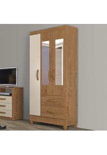 Guarda-Roupa Solteiro Real 3 Portas 2 Gavetas Com Espelho Canelato Rústico/Natura Off White - Atualle Móveis