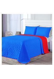 Kit Cobre Leito Dual Color Azul Royal/Vermelho Casal Padráo 03 Peças - Dupla Face