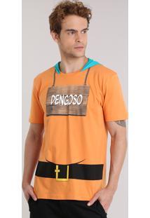 "Camiseta Carnaval 7 Anões ""Dengoso"" Com Capuz Laranja"