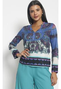 Blusa Arabescos Com Seda- Azul Marinho & Branca- Vipvip Reserva