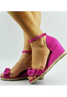 Sandália Anabela Antônia Domingues Laço Feminina - Feminino-Pink