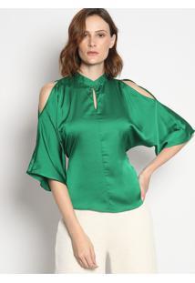 Blusa Acetinada Com Vazados- Verdeenna