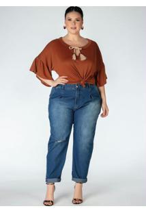 Blusa Com Amarração Plus Size Ferrugem