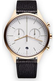 Uniform Wares Relógio 'C39 Chronograph' De Couro E Aço Inoxidável - Preto