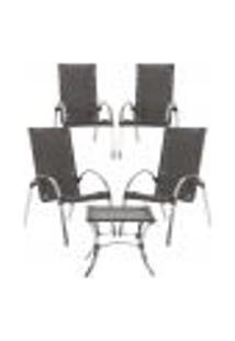 Jogo Cadeiras 4Un E Mesa De Centro Garden Para Edicula Jardim Area Varanda Descanso - Tabaco