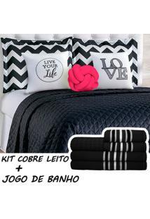 Kit Combo Cobre Leito C/ Jogo De Banho Isabela Preto/Pink Queen 13 Peças.