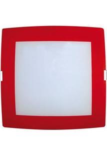 Plafon Attena Sobrepor Quadrado 38 Cm Em Vidro - Branco/Vermelho