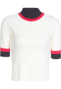 Blusa Feminina Tricolor Cropped - Off White