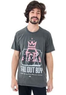 Camiseta Korova Rock Tees Fall Out Boy Cinza Estonado