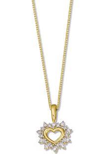 Pingente Coraã§Ã£O Ouro Amarelo Ouro Branco E Diamantes