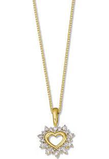 Pingente Coração Ouro Amarelo Ouro Branco E Diamantes 14 Mm