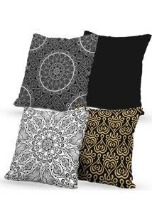 Kit 4 Capas De Almofadas Decorativas Own Mandalas Black 45X45 - Somente Capa