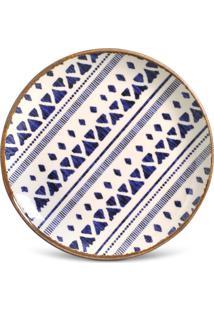 Conjunto 6Pçs Pratos De Sobremesa Porto Brasil Coup Asteca Branco/Azul/Dourado