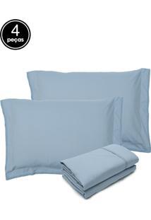 Jogo De Cama 4Pçs Queen Buddemeyer Basic Premium 200 Fios Azul Claro