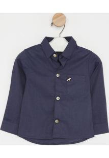 Camisa Lisa Com Bolso - Azul Marinho- Oliveroliver