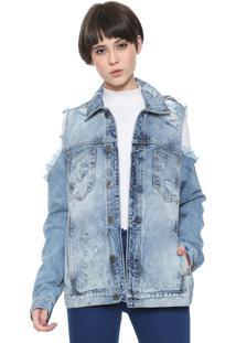 Jaqueta Jeans Triton Off Shoulder Azul