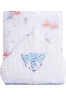 Toalha De Banho Papi Soft Forrada Raposa Branco - Kanui