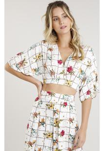 Blusa Feminina Cropped Transpassada Estampada Floral Manga Curta Decote V Branca