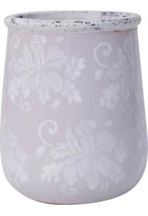 Vaso Ceramica Redondo Alto Marfim C/ Flores Brancas Gr