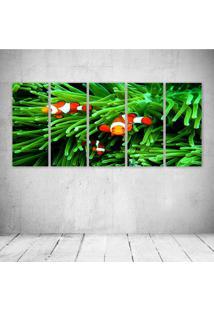 Quadro Decorativo - Fish Green - Composto De 5 Quadros - Multicolorido - Dafiti