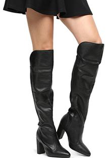 Bota Over The Knee Vizzano Bico Fino Feminina - Feminino-Preto