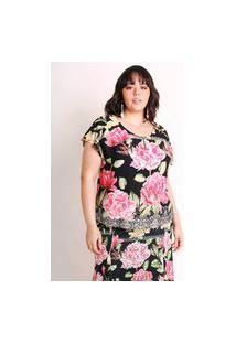 Blusa Plus Size Estampada Camada De Flores Preta