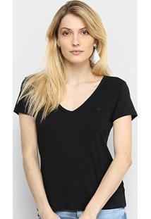 Camiseta Cavalera Gola V Feminina - Feminino-Preto