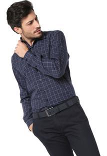Camisa Dudalina Slim Fit Quadriculada Azul