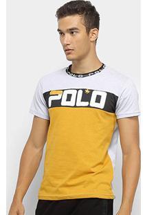 Camiseta Polo Rg 518 Malha Pontos Masculina - Masculino-Branco+Amarelo