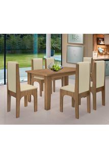 Conjunto Mesa Com 6 Cadeiras - Miami - Dobuê - Canela / Bege