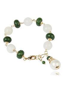 Pulseira Soloyou De Pedras Naturais Quartzo Branco Leitoso E Jade Verde Semijoia Em Ouro 18K
