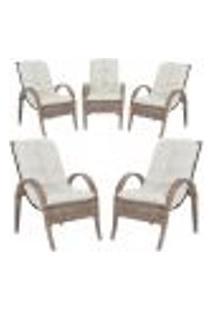 Cadeiras 5Un P/ Jardim Lazer Edicula Varanda Descanso Fibra E Tramas Napoli Plus Argila A34