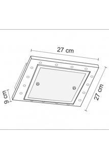 Plafon Quadrado Para 1 Lâmpada 24Cm Mona Lisa Madelustre Branco