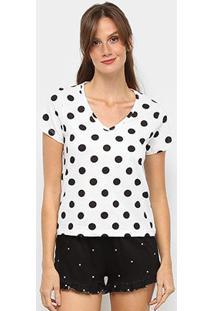 Pijama Hering Curto Estampado Feminino - Feminino-Preto+Branco
