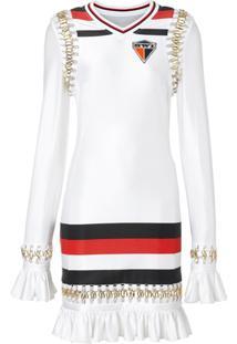 Burberry Vestido De Jersey Com Listras E Detalhe De Piercings - Branco