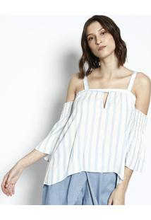 ... Blusa Listrada - Branca   Azul Clarotriton 0f82f1fed1ba2