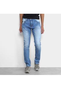 Calça Jeans Slim Biotipo Estonada Lavagem Masculina - Masculino-Azul Claro