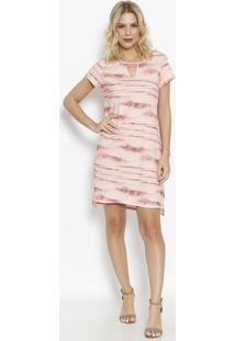 Vestido Tie-Dye Com Fenda & Recorte Vazado- Rosa Claro &Vip Reserva