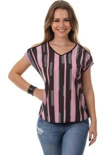 Blusa Estampada Com Decote V Preta