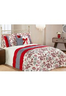 Edredom Vitória Queen Vermelho Com Porta Travesseiro Com 7 Peças - Kanui