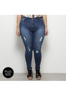 Calça Jeans Skinny Sawary Cigarrete Rasgos Plus Size Feminina - Feminino
