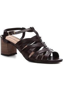 Sandália Couro Shoestock Salto Bloco Pesponto Feminina - Feminino-Marrom