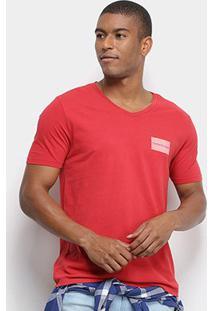 Camiseta T-Shirt Calvin Klein Masculina - Masculino-Vermelho
